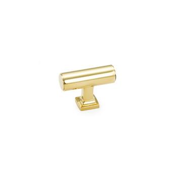 "Schaub and Company, Haniburton, 1 5/8"" T knob, Unlacquered Brass"