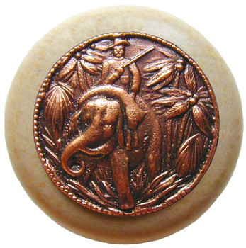 "Notting Hill, Jungle Patrol, 1 1/2"" Round Wood Knob, in Antique Copper with Natural wood finish"