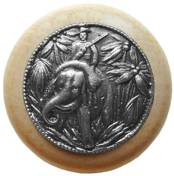 "Notting Hill, Jungle Patrol, 1 1/2"" Round Wood Knob, in Antique Pewter with Natural wood finish"