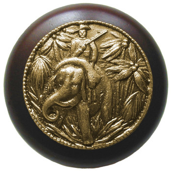 "Notting Hill, Jungle Patrol, 1 1/2"" Round Wood Knob, in Antique Brass with Dark Walnut wood finish"