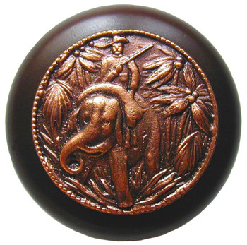 "Notting Hill, Jungle Patrol, 1 1/2"" Round Wood Knob, in Antique Copper with Dark Walnut wood finish"