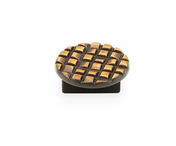 "Schaub and Company, Mosaic, 1 1/4"" (32mm) Drill Center Round knob, French Antique Bronze"