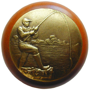 "Notting Hill, Catch of the Day, 1 1/2"" Round Wood Knob, in Antique Brass with Cherry Wood Finish"