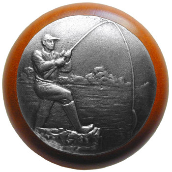 """Notting Hill, Lodge and Nature, Catch of the Day, 1 1/2"""" Round Wood Knob, Antique Pewter with Cherry Wood Finish"""