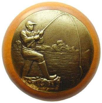"Notting Hill, Catch of the Day, 1 1/2"" Round Wood Knob, in Antique Brass with Maple Wood Finish"