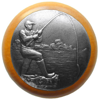 """Notting Hill, Lodge and Nature, Catch of the Day, 1 1/2"""" Round Wood Knob, Antique Pewter with Maple Wood Finish"""