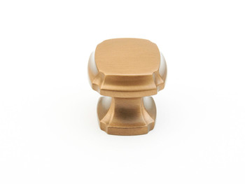 "Schaub and Company, Empire, 1 3/8"" Square knob, Brushed Bronze"