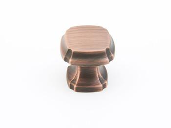 """Schaub and Company, Empire, 1 3/8"""" Square knob, Empire Bronze"""