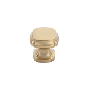 """Schaub and Company, Empire, 1 3/8"""" Square knob, Signature Satin Brass"""
