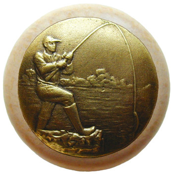 """Notting Hill, Lodge and Nature, Catch of the Day, 1 1/2"""" Round Wood Knob, Antique Brass with Natural Wood Finish"""