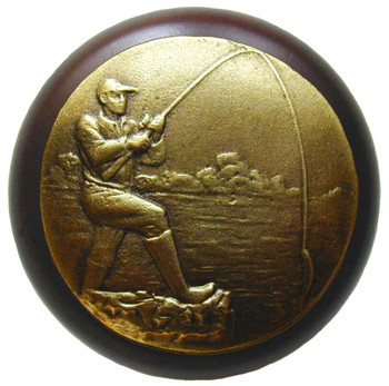 """Notting Hill, Lodge and Nature, Catch of the Day, 1 1/2"""" Round Wood Knob, Antique Brass with Dark Walnut Wood Finish"""