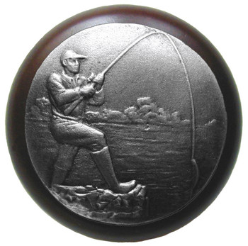 """Notting Hill, Lodge and Nature, Catch of the Day, 1 1/2"""" Round Wood Knob, Antique Pewter with Dark Walnut Wood Finish"""