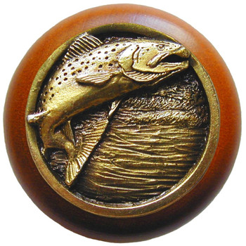 "Notting Hill, Leaping Trout, 1 1/2"" Round Wood Knob, in Antique Brass with Cherry wood finish"