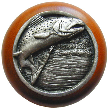 "Notting Hill, Leaping Trout, 1 1/2"" Round Wood Knob, in Antique Pewter with Cherry wood finish"