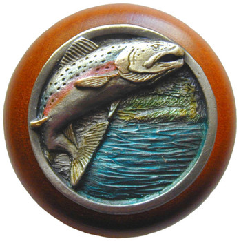"Notting Hill, Leaping Trout, 1 1/2"" Round Wood Knob, in Hand Tinted Antique Pewter with Cherry wood finish"