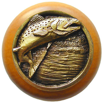 "Notting Hill, Leaping Trout, 1 1/2"" Round Wood Knob, in Antique Brass with Maple wood finish"