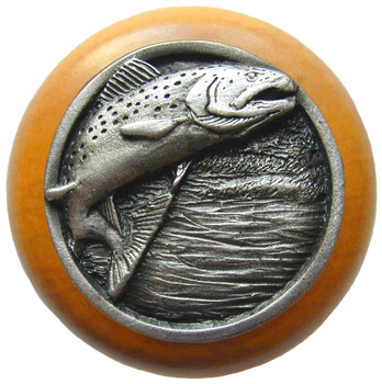 "Notting Hill, Leaping Trout, 1 1/2"" Round Wood Knob, in Antique Pewter with Maple wood finish"