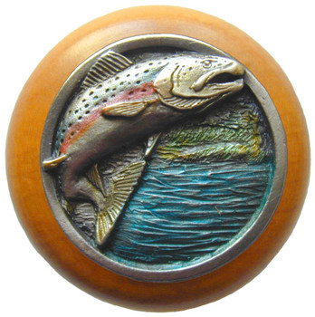 "Notting Hill, Leaping Trout, 1 1/2"" Round Wood Knob, in Hand Tinted Antique Pewter with Maple wood finish"