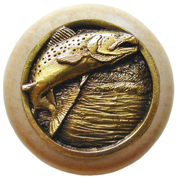 "Notting Hill, Leaping Trout, 1 1/2"" Round Wood Knob, in Antique Brass with Natural wood finish"