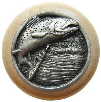 "Notting Hill, Leaping Trout, 1 1/2"" Round Wood Knob, in Antique Pewter with Natural wood finish"
