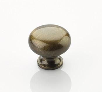 "Schaub and Company, Traditional, 1 1/4"" Mushroom Round Knob, Antique Brass"