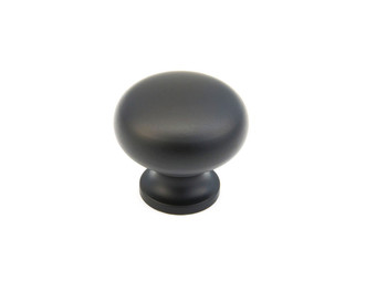 "Schaub and Company, Country / Traditional, 1 1/4"" Mushroom Round knob, Flat Black"