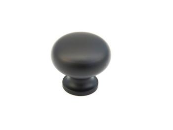 "Schaub and Company, Traditional, 1 1/4"" Mushroom Round Knob, Flat Black"