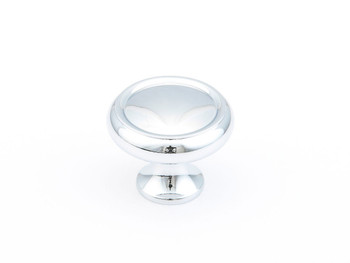 "Schaub and Company, Country / Traditional, 1 1/4"" Ringed Round knob, Polished Chrome"