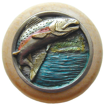 "Notting Hill, Leaping Trout, 1 1/2"" Round Wood Knob, in Hand Tinted Antique Pewter with Natural wood finish"