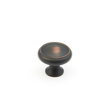 """Schaub and Company, Country / Traditional, 1 1/4"""" Ringed Round knob, Michelangelo Bronze"""