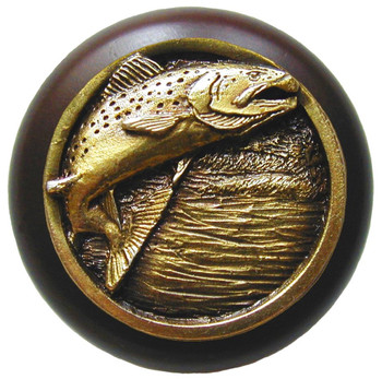 "Notting Hill, Leaping Trout, 1 1/2"" Round Wood Knob, in Antique Brass with Dark Walnut wood finish"