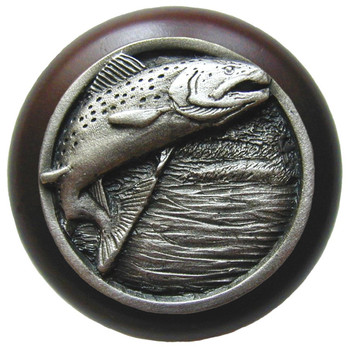 "Notting Hill, Leaping Trout, 1 1/2"" Round Wood Knob, in Antique Pewter with Dark Walnut wood finish"