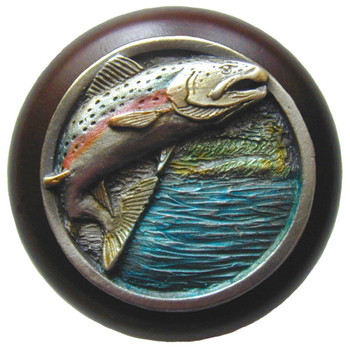 "Notting Hill, Leaping Trout, 1 1/2"" Round Wood Knob, in Hand Tinted Antique Pewter with Dark Walnut wood finish"