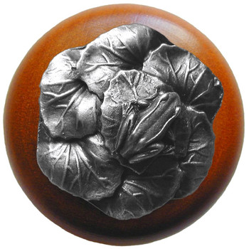 "Notting Hill, Leap Frog, 1 1/2"" Round Wood Knob, in Antique Pewter with Cherry Wood Finish"