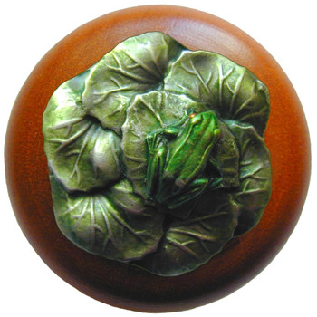 "Notting Hill, Leap Frog, 1 1/2"" Round Wood Knob, in Hand Tinted Antique Pewter with Cherry Wood Finish"