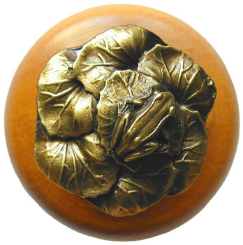 "Notting Hill, Leap Frog, 1 1/2"" Round Wood Knob, in Antique Brass with Maple wood finish"
