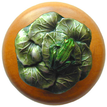 "Notting Hill, Leap Frog, 1 1/2"" Round Wood Knob, in Hand Tinted Antique Pewter with Maple wood finish"