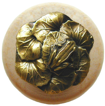 "Notting Hill, Leap Frog, 1 1/2"" Round Wood Knob, in Antique Brass with Natural Wood Finish"
