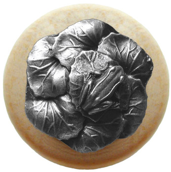 "Notting Hill, Leap Frog, 1 1/2"" Round Wood Knob, in Antique Pewter with Natural Wood Finish"