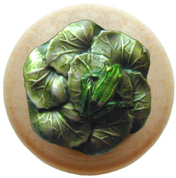 "Notting Hill, Leap Frog, 1 1/2"" Round Wood Knob, in Hand Tinted Antique Pewter with Natural wood finish"