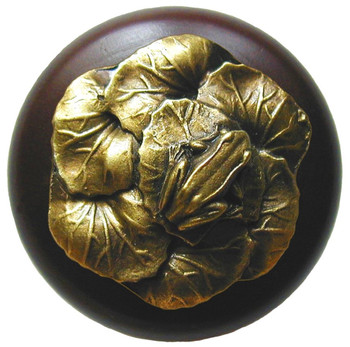 "Notting Hill, Leap Frog, 1 1/2"" Round Wood Knob, in Antique Brass with Dark Walnut Wood Finish"