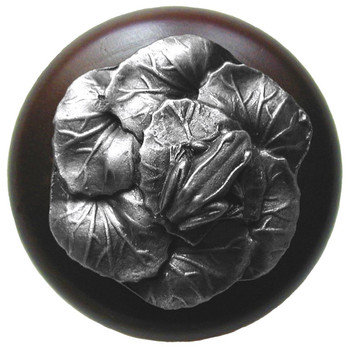 "Notting Hill, Leap Frog, 1 1/2"" Round Wood Knob, in Antique Pewter with Dark Walnut wood finish"