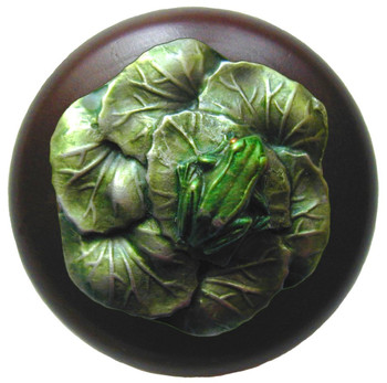 "Notting Hill, Leap Frog, 1 1/2"" Round Wood Knob, in Hand Tinted Antique Pewter with Dark Walnut wood finish"
