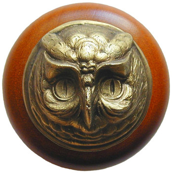 "Notting Hill, Wise Owl, 1 1/2"" Round Wood Knob, in Antique Brass with Cherry wood finish"