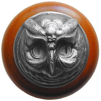 "Notting Hill, Wise Owl, 1 1/2"" Round Wood Knob, in Antique Pewter with Cherry wood finish"