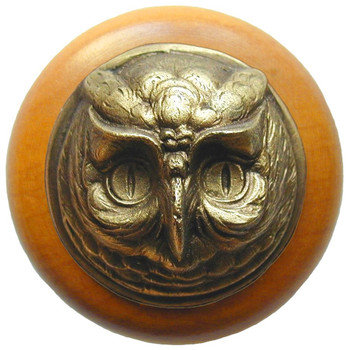 "Notting Hill, Wise Owl, 1 1/2"" Round Wood Knob, in Antique Brass with Maple wood finish"