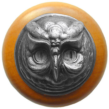 "Notting Hill, Wise Owl, 1 1/2"" Round Wood Knob, in Antique Pewter with Maple wood finish"