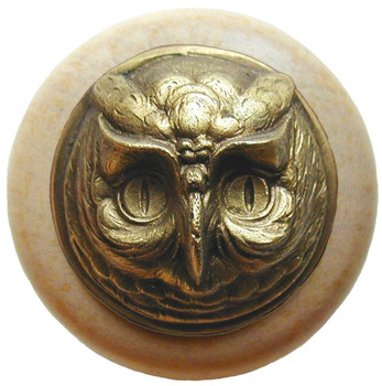 "Notting Hill, Wise Owl, 1 1/2"" Round Wood Knob, in Antique Brass with Natural wood finish"