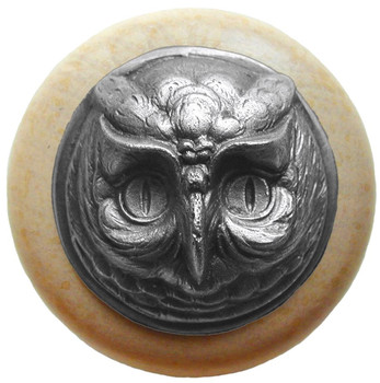 "Notting Hill, Wise Owl, 1 1/2"" Round Wood Knob, in Antique Pewter with Natural wood finish"
