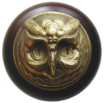 "Notting Hill, Wise Owl, 1 1/2"" Round Wood Knob, in Antique Brass with Dark Walnut wood finish"